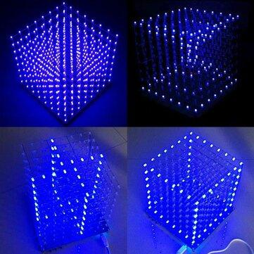 Buy 8x8x8 LED Cube 3D Light Square Blue Electronic DIY Kit