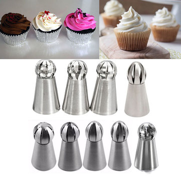 9Pcs Cream Stainless Steel Icing Piping Nozzles Pastry Tips Sphere Ball Shape Cupcake Decorating