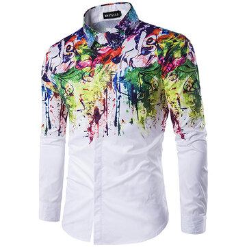 Flowers Splash-ink Splashed Paint Printing Lapel Long-sleeved Men Shirt