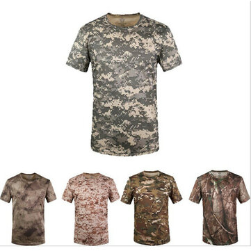 Mens Army Military Tactics Camouflage Short Sleeves T-shirt Leisure Outdoor Sports Top Tees