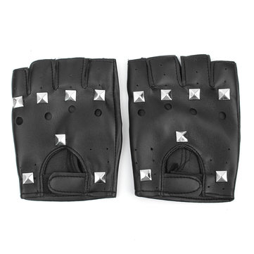Fingerless Punk Rivet Leather Gloves Motorcycle Driving Mittens