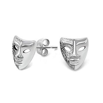 1pc do parafuso prisioneiro do ouvido retro máscara de prata brinco para homens e mulheres