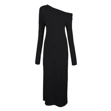 Sexy Casual Loose Off Shoulder Slit Maxi Dress For Women