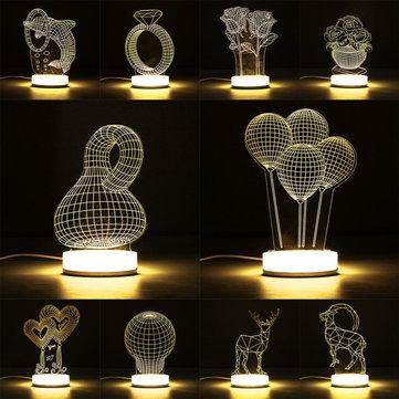 3D Illusion USB LED Night Light Warm White Desk Table Lamp Xmas Gift