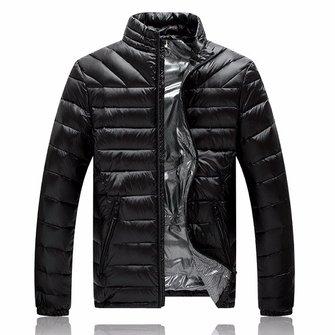 Мужская легкая зимняя стильная теплая куртка вниз стоять воротник чистый цвет пальто