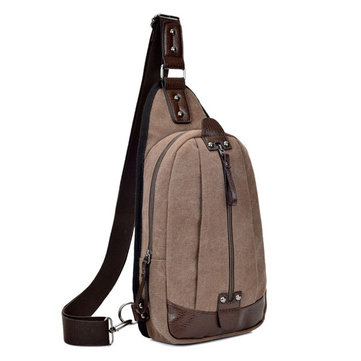Men Canvas Casual Black Coffee Sport Outdoor Cycling Crossbody Chest Bag