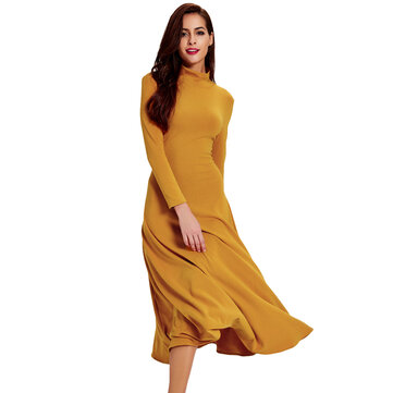 Elegant Women Solid Turtleneck Long Sleeve Hollow Out Backless Maxi Dress