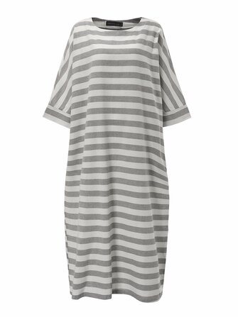 Loose Striped 3/4 Sleeve Casual Women Baggy Maxi Dress