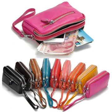 Femmes hommes en cuir véritable titulaire de la carte à double fermeture éclair des embrayages de téléphone de pochette sacs monnaie sacs