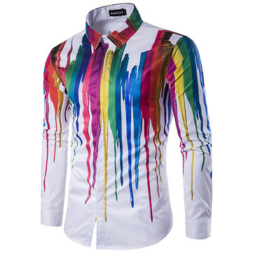 Mens Colorful Personalized Ink 3D Printing Turn-down Collar Long-sleeve Fashion Casual Shirt