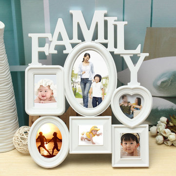 Family Picture Frames Photo Frame Wall Hanging Picture Holder Display Home Decor White Plastic