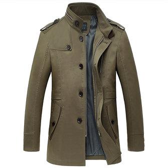 Mens colletto alla coreana casuale monopetto trench slim fit vestito cappotto