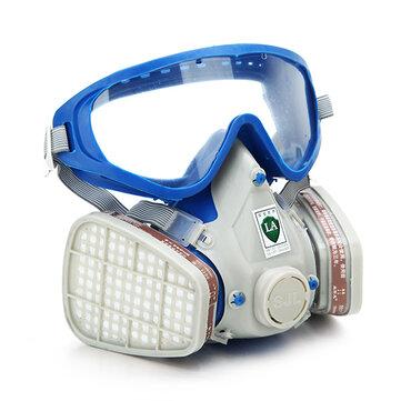Gás pintura cobertura abrangente máscara química & óculos de pesticidas poeira escada de incêndio