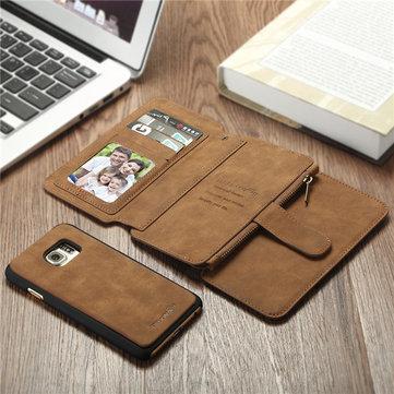BlitzWolf® tutor cubierta de la caja de la PU cremallera bolsillo extraíble para Samsung Galaxy S6