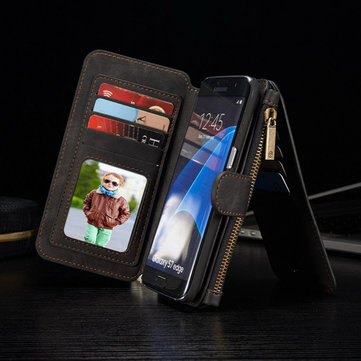 Caseme zipper caso carteira cartão retro removível pu para Samsung Galaxy S7 borda