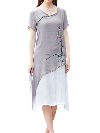Original Women Slim Chinese Style Button Floral V Neck High Low Linen Dress