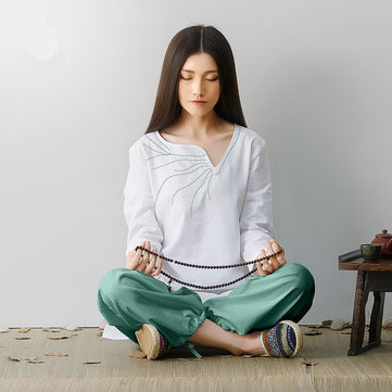 Women Fitness Yoga Clothes Linen Suit Embroidery Buddhist Meditation Performance Clothing Set