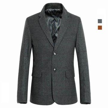 Quality Wool Business Suit Mens Cashmere Pea Blazers Slim Fit Fleece Jackets