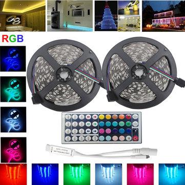 10m SMD 5050 non-impermeabile rgb 600 LED nastro striscia chiara flessibile + 44 tasti IR regolatore di DC12V