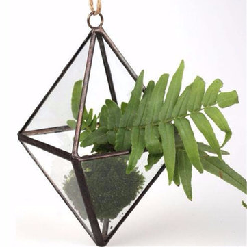 DIY Micro Landscape Prismatic Greenhouse Glass Terrarium Succulent Plants Flower Pot