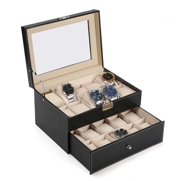 Large 20 Slot Wrist Watch Display Box Black Leather Watch Case Organizer Glass Top