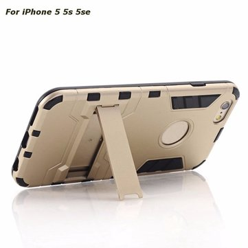 2 In 1 TPU PC Heavy Duty Hybrid Armor Shockproof Phone Case With Stand For iPhone 5 5S SE 4 Inch
