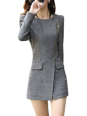 Slim Women Pure Color Slant Zipper Long Sleeve Woolen Coat