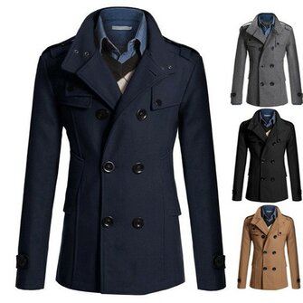 Buy Mens Fashion Solid Color Woolen Double Breasted British Style Coat Casual Jacket