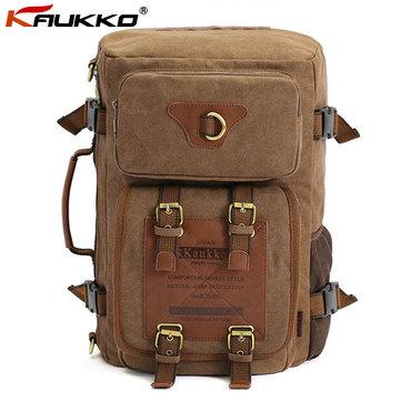 KAUKKO Men's Canvas Army Style Shoulder Travel Tactical Backpacks