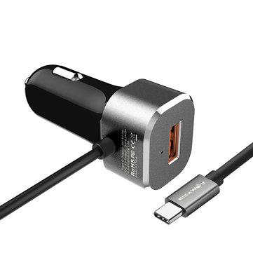 BlitzWolf® a9. lg g5. apple macbook 12inch, lumia 950 / 950xl, nokia n1. nexus 5x, nexus 6p et plus BW-C9 QUALCOMM certifié qc 3.0 usb de type c One double ports chargeur de voiture pour htc