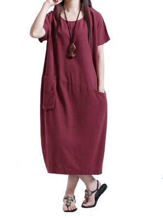 Pocket Vintage Linen Cotton Solid Color Short Sleeve Women Shirt Dress