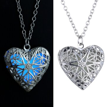 Steampunk Luminous Necklace Heart Glow In The Dark Pendant Necklace at Banggood