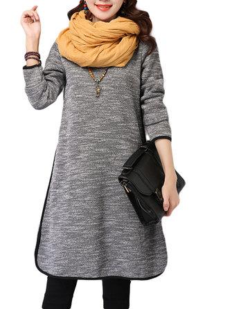 Original Women Cotton Linen High Collar Thicken Loose Dress