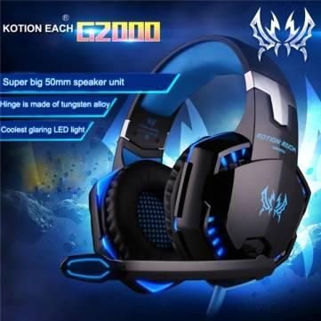 Kotion ogni G2000 oltre stereo orecchio basso di gioco cuffia auricolare cuffia fascia con microfono LED per il gioco PC