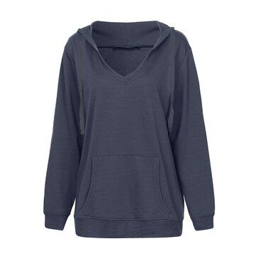O-NEWE Mulheres Sexy Pocket Deep V-neck Pullover Hoodies