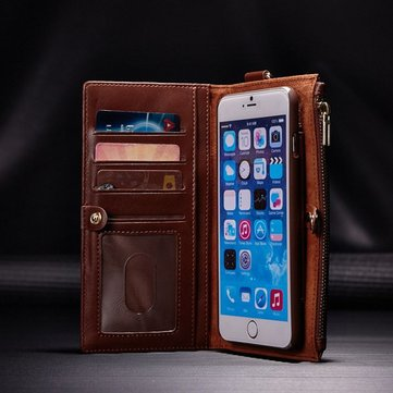 For iPhone 5 5S SE 2 In 1 Multi-function PU Leather Detachable Zipper Wallet Kickstand Case