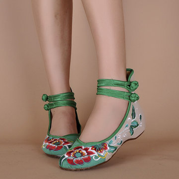 Buy Women Mary Janes Chinese Embroidered Flower Flat Shoes Linen Loafers