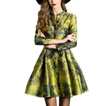 Retro Women Single Breasted Floral Printed Long Sleeve Trench Coat