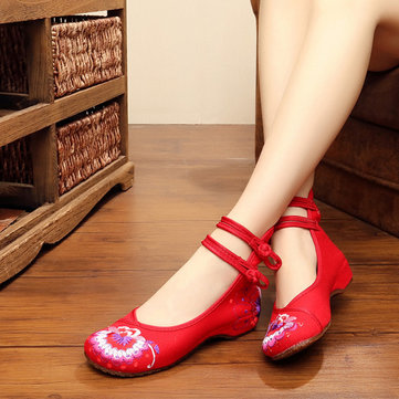 US Size 5-10 Embroidery Floral National Wind Chineseknot Buckle Vintage Flat Loafers Shoes