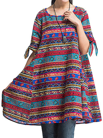 Casual Folk Style Geometric Printed Bow A-Line Dress For Women