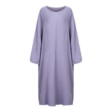 Casual Brief Pure Color Loose Robe Women O-Neck Long Sleeve Maxi Dress