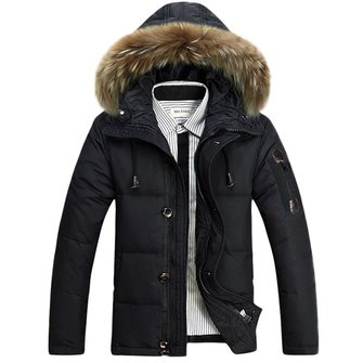 Buy Mens Winter Outdoor Thick Warm Solid Color Fur Collar Duck Jacket Hooded Coat 4