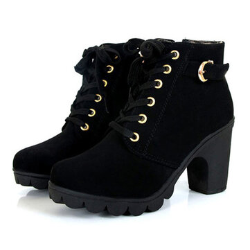 Original Women Girl High Top Heel Ankle Boots Winter Pumps Lace Up Buckle Suede Shoes