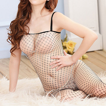 Sexy Hollow Out Crotchless Bodystocking Spaghetti Straps Temptation Nightwear