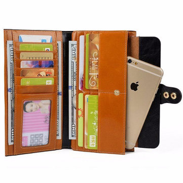 Original Women Men Genuine Leather Luxury Long Wallet Oil Wax Purse Card Holder Phone Bags