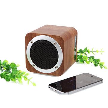 Portable Solid Wood Bluetooth Stereo Speaker Super Bass Subwoofer Support FM TF Card U Disk Soundbox