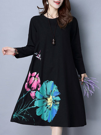 Casual Women Long Sleeve Floral Printed Pure Color Vintage Dress