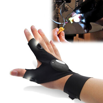 Multifunctional EDC Fishing Fingerless Glove LED Repair Flashlight Survival Outdoor Rescue Tool