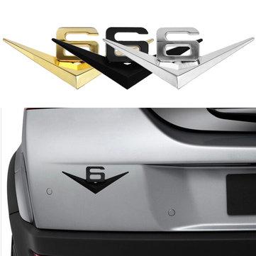 Buy 3D Car Metal V6 Emblem Decal Badge Truck Auto Motor Sticker 3 Colors