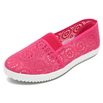 Women Breathable Mesh Printing Loafers Slip On Soft Sole Flat Shoes